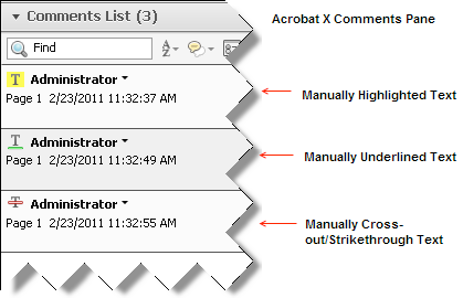 Acrobat X comments pane