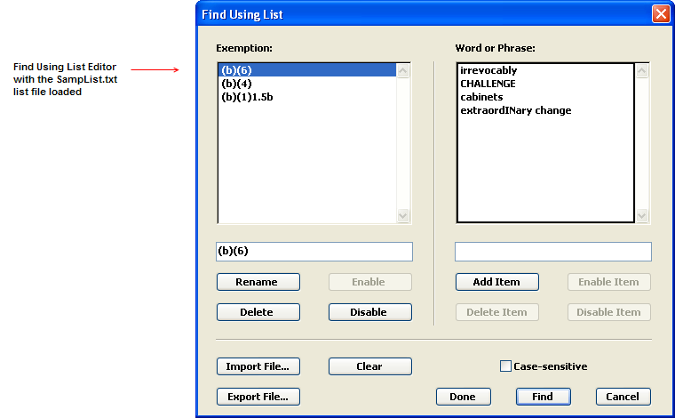 Find using list with the SampList.txt list file loaded.