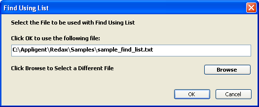 Find Using List Dialog