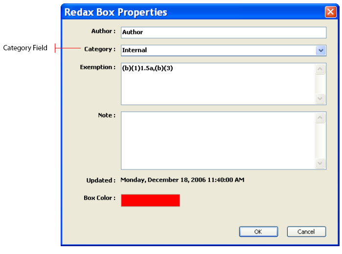 Redax Box Properties Category Field