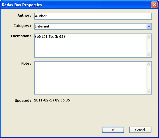 Redax Box Properties Dialog Box, Full-Page
