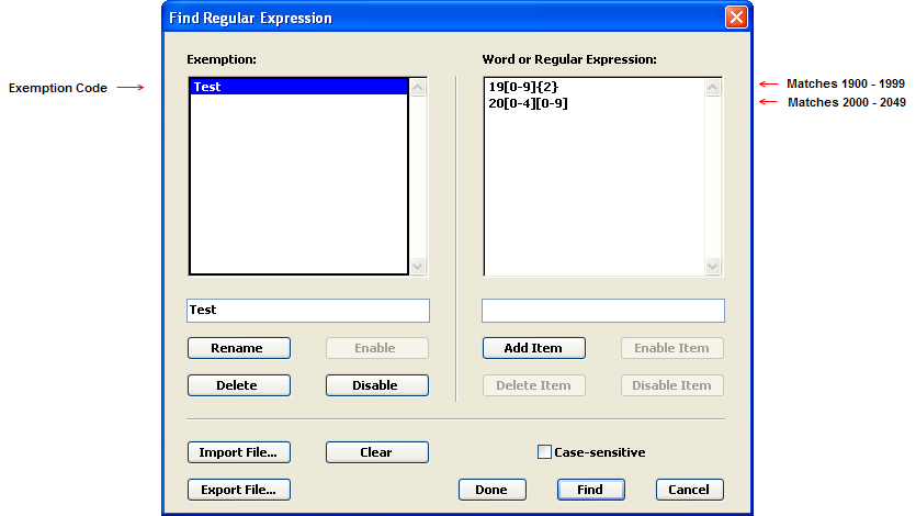 Find Regular Expression dialog