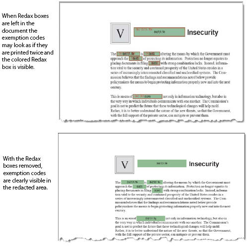 Annotations (Redax boxes) before and after being removed