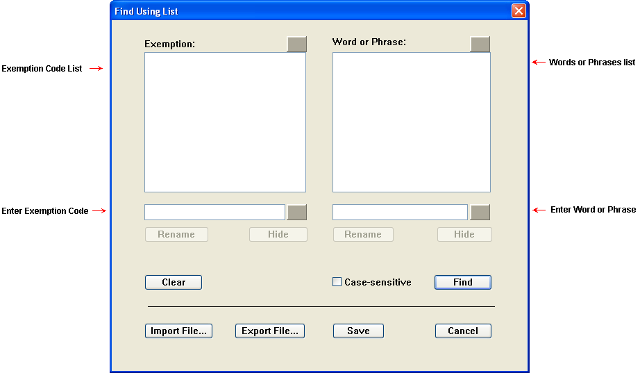 Find Using List Dialog Setup