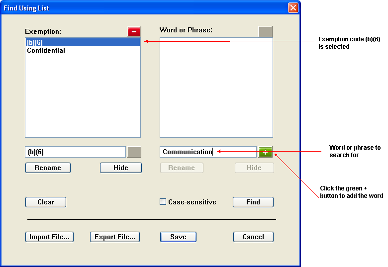 Find Using List Dialog Adding Word or Phrase